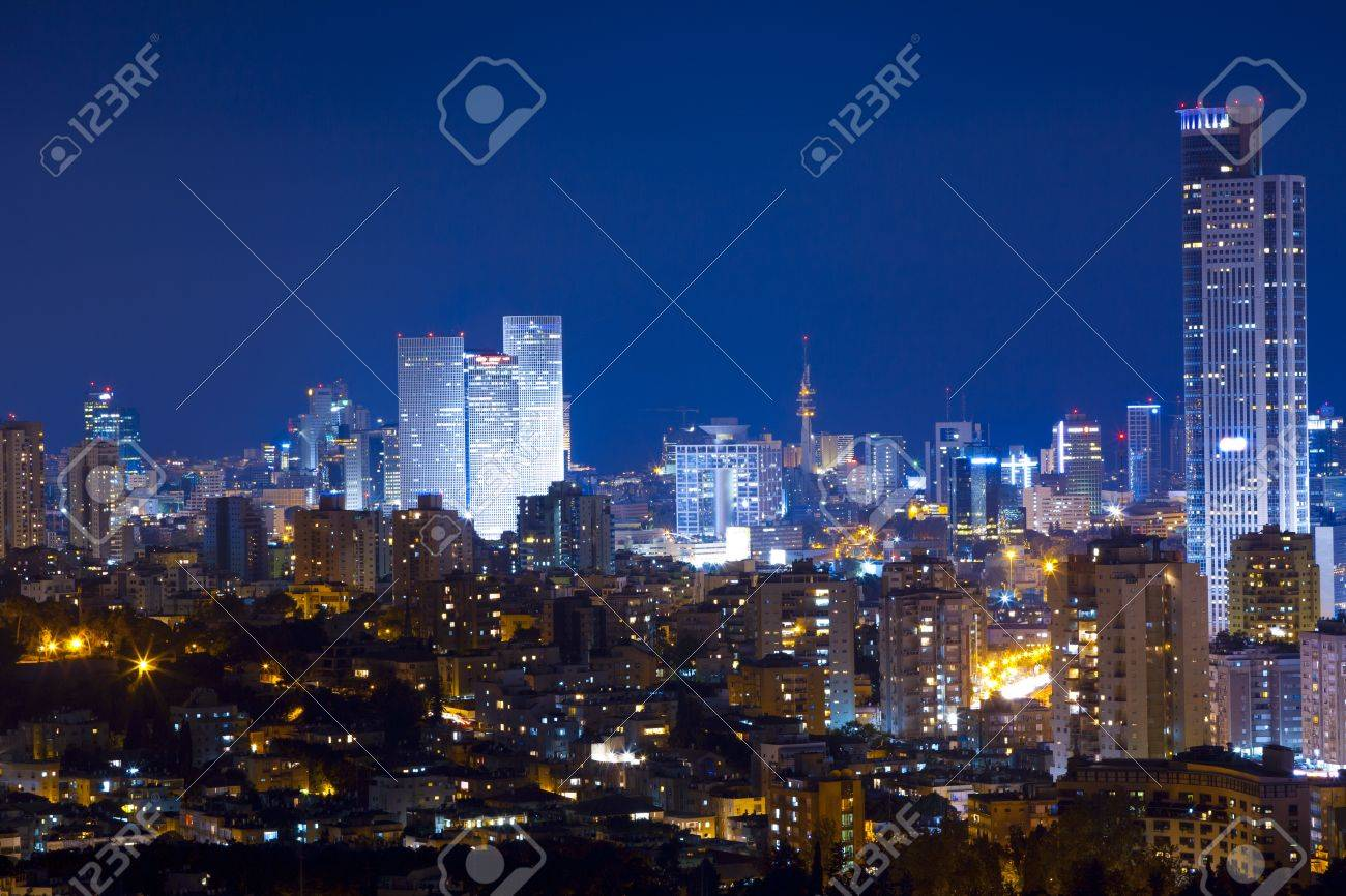 tel aviv and ramat gan skyline at night stock photo picture and