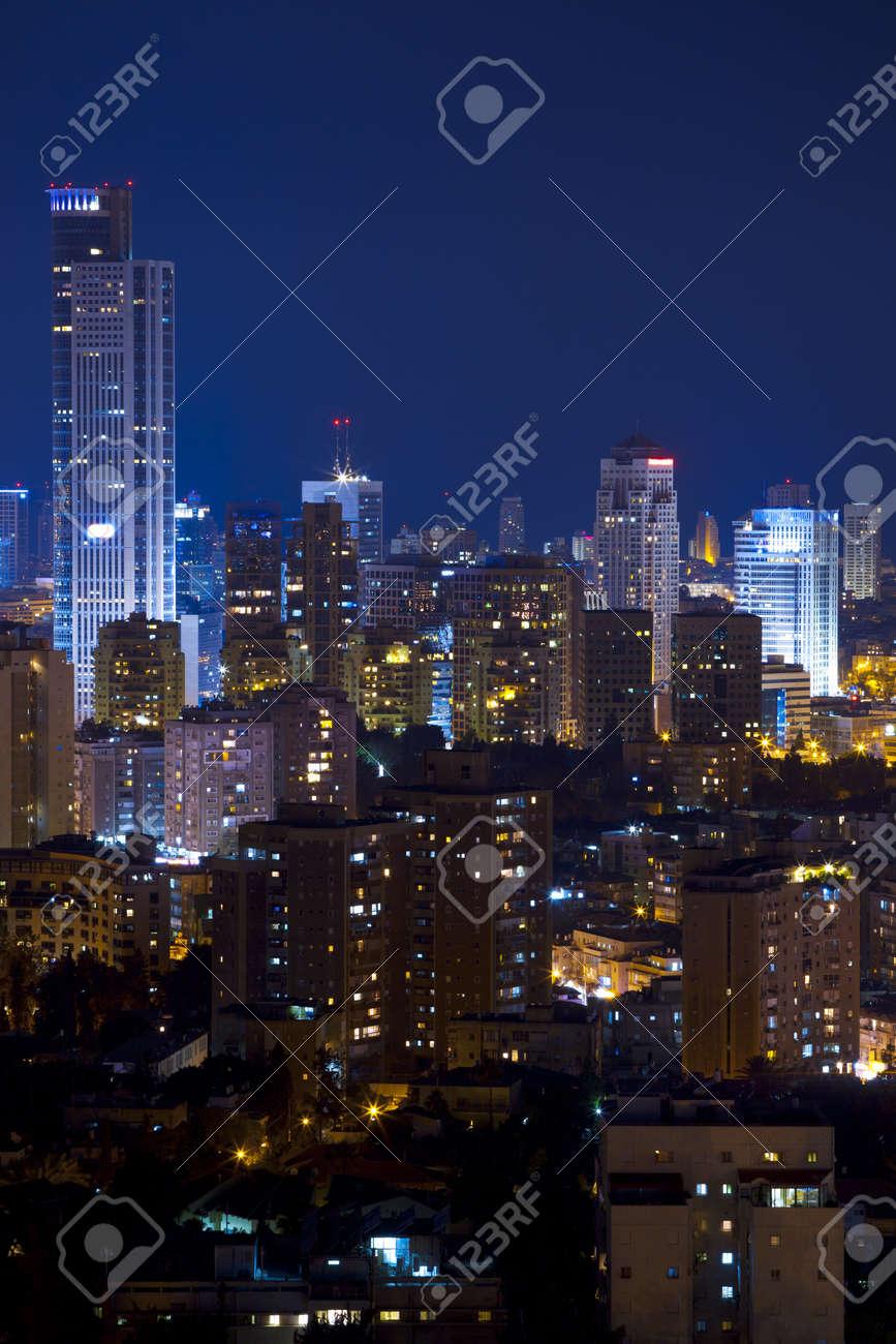 Tel Aviv and Ramat Gan Skyline at night Stock Photo - 14479448
