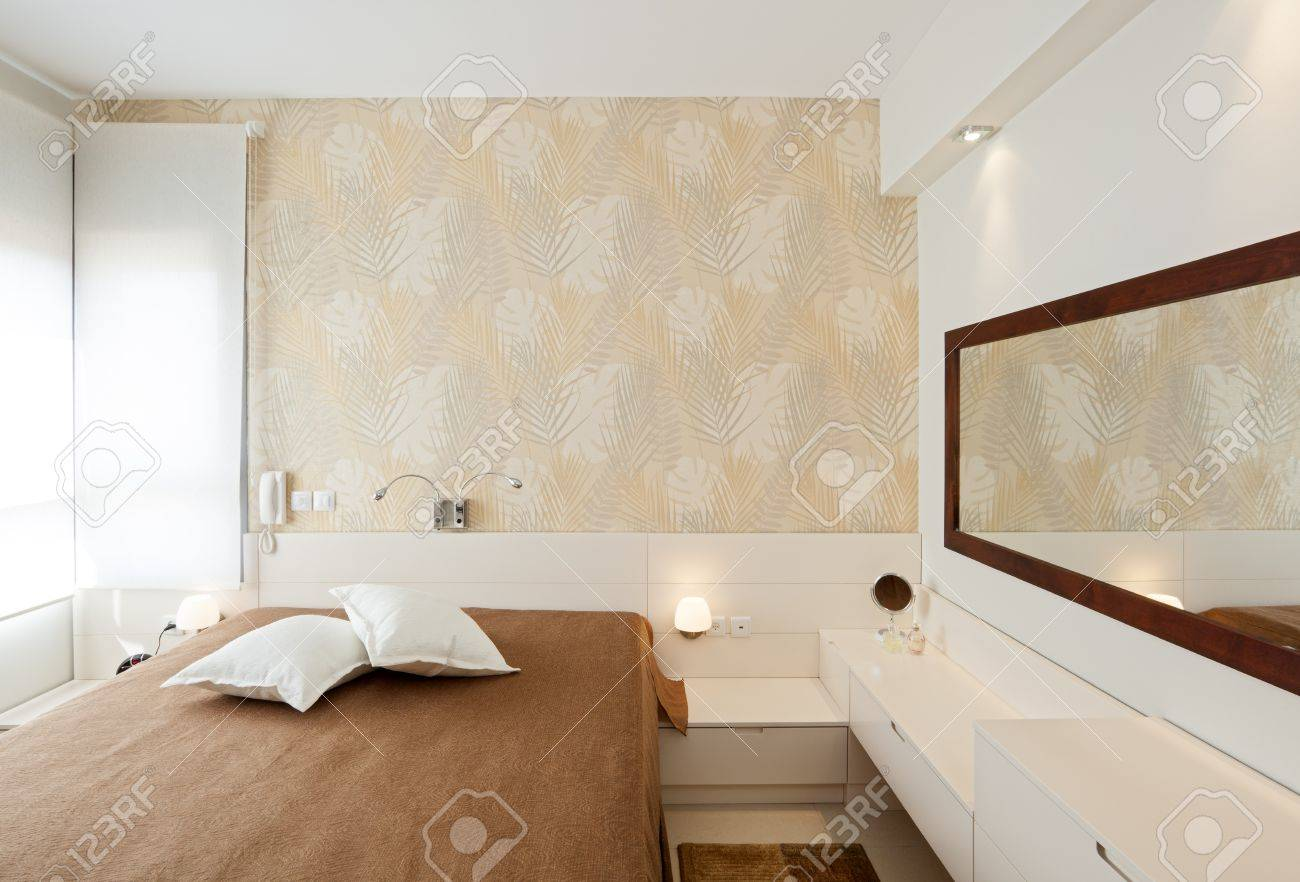 Luxury Wallpaper For Bedrooms Modern Luxury Bedroom With Wallpaper Hotel Room Stock Photo