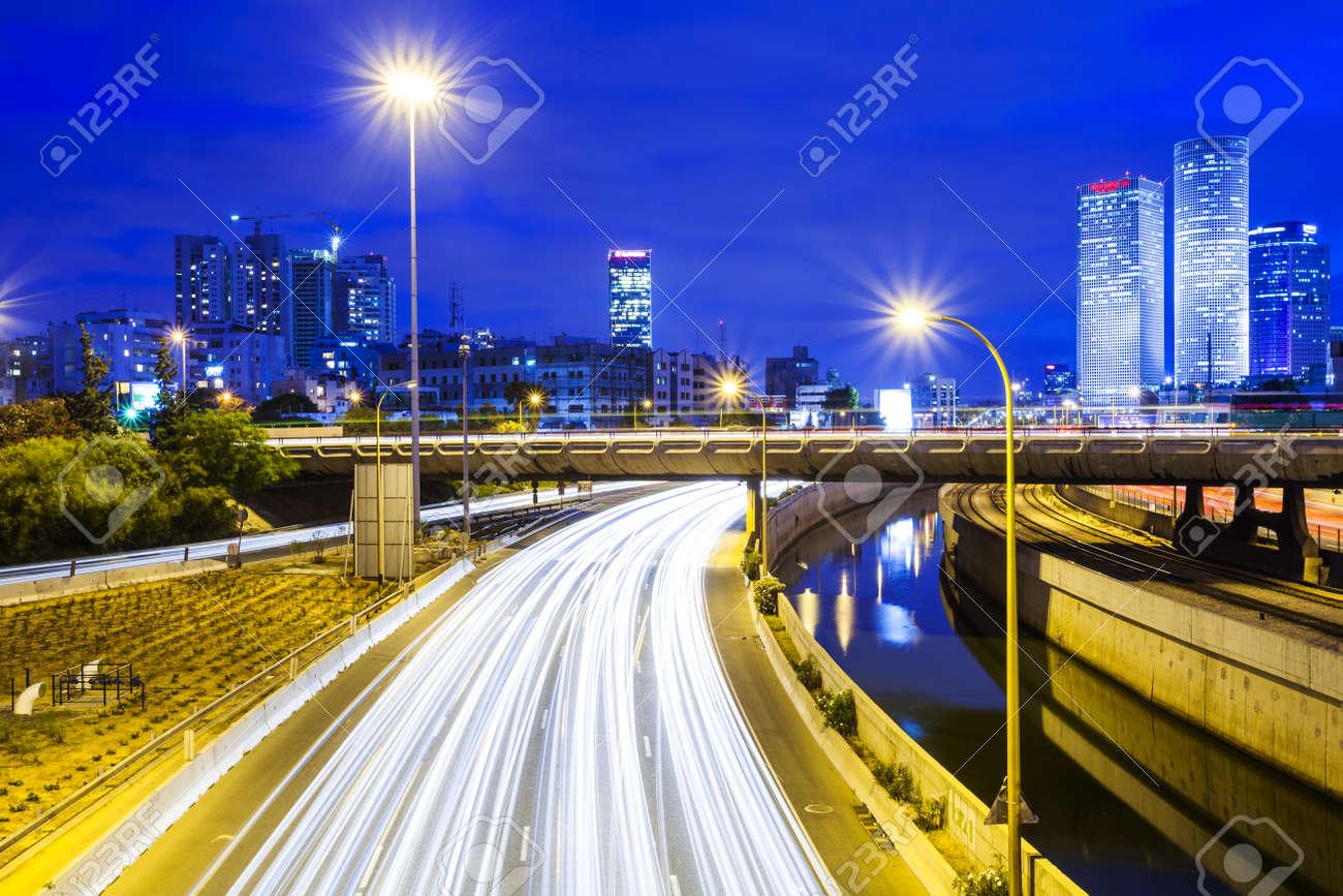 Tel Aviv Cityscape - Traffic on Ayalon Freeway Stock Photo - 20215218