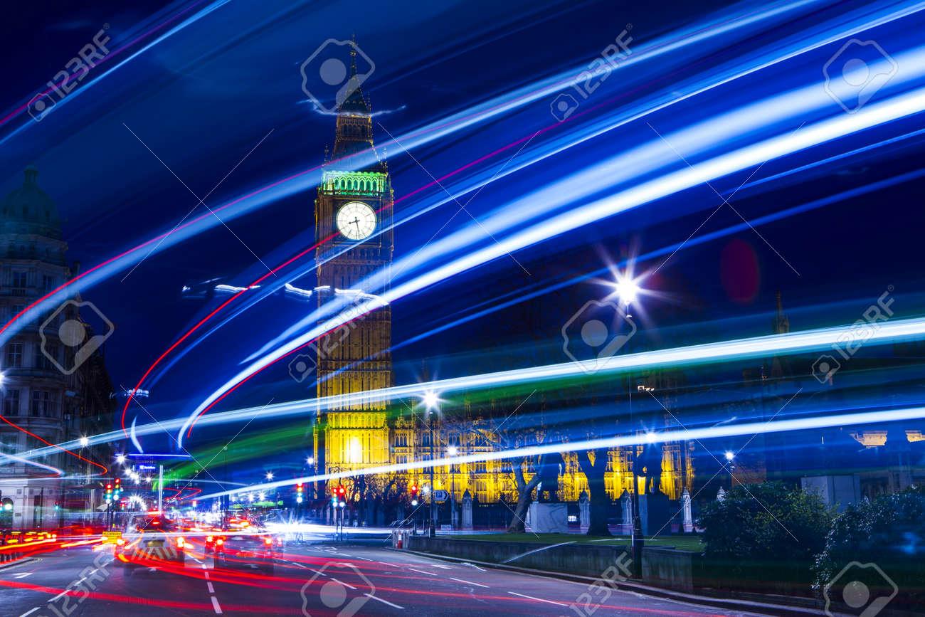 Speed motion at night London, blue light - London City Street Abstract Light Stock Photo - 20434963
