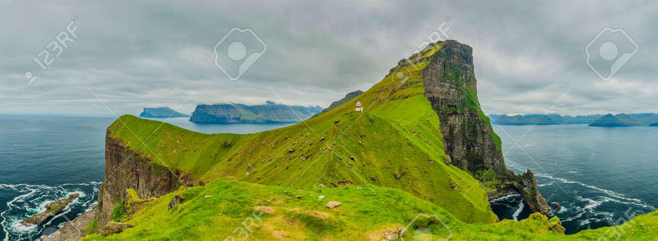 Shot Of Beautiful Panoramic Scene, Kalsoy Island and Kallur lighthouse, Faroe Islands - 105397967