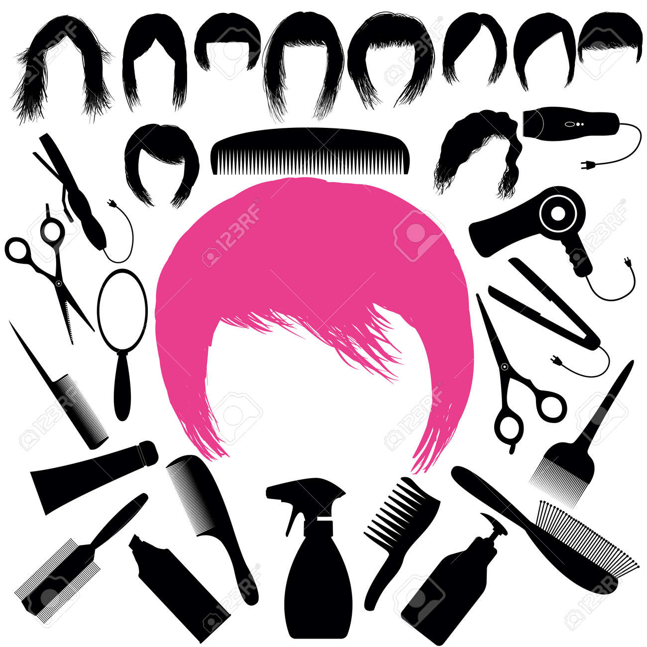 A Set With Silhouettes Of Hairstyles And Hair Salon Tools. Long ...
