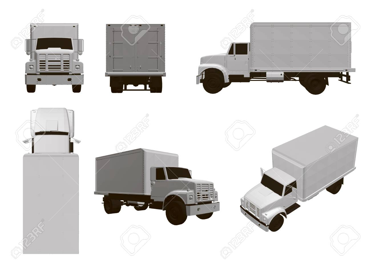 Set with trucks. 6 white truck models from different angles. 3D Vector illustration. - 125107142