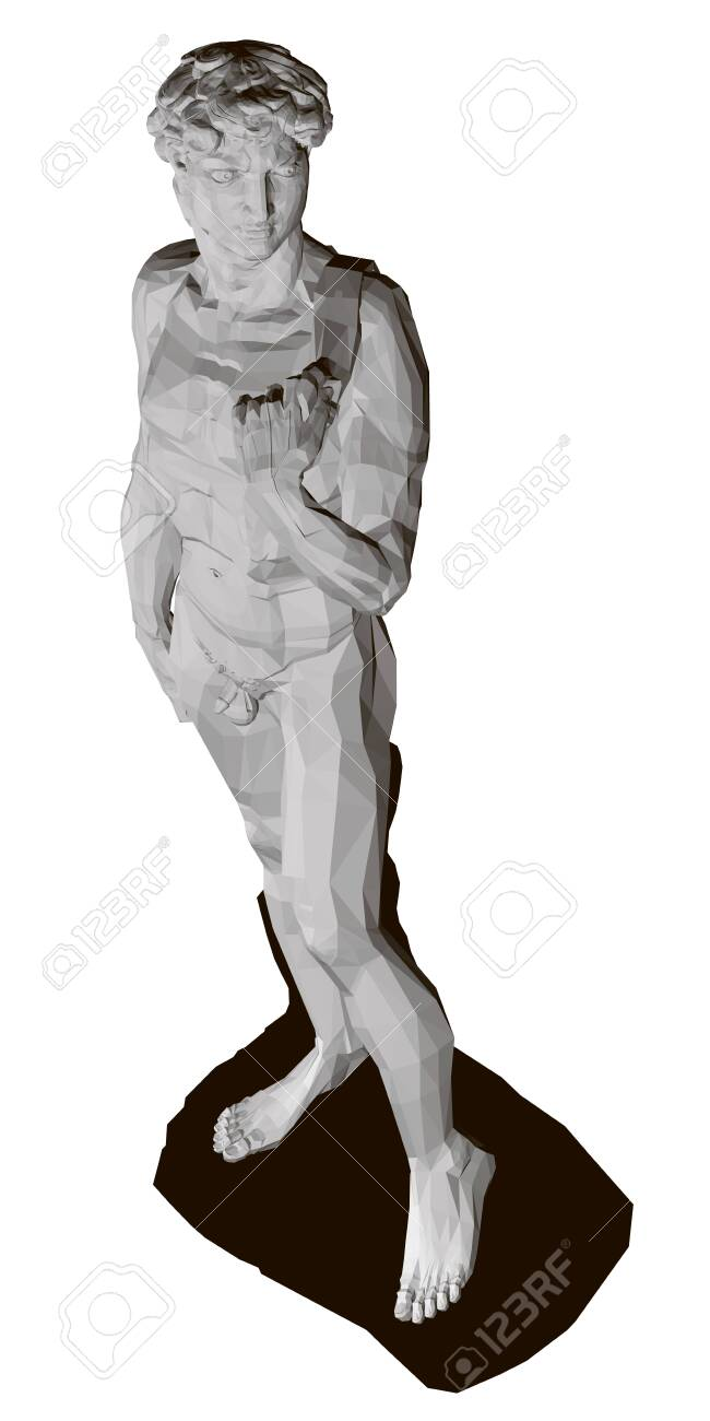 Polygonal statue of David. View perspective. Isolated on white background statue of David. 3D. Vector illustration - 135879394