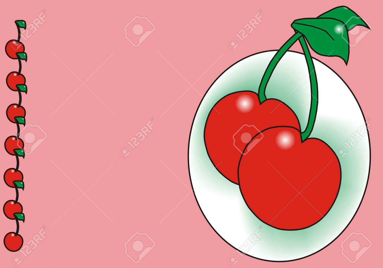 Cherry on Pink background Stock Vector - 4641763
