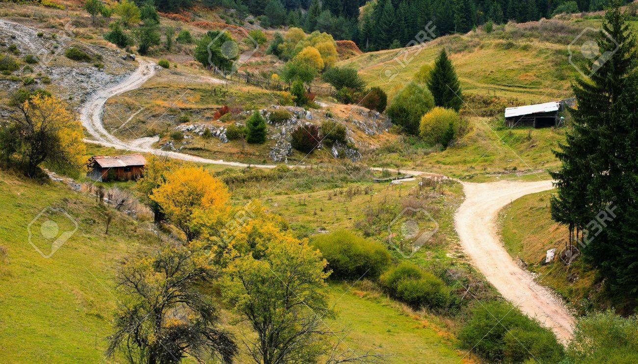 Old forest road autumn landscape in bulgarian Rhodopes mountain Stock Photo - 10954658