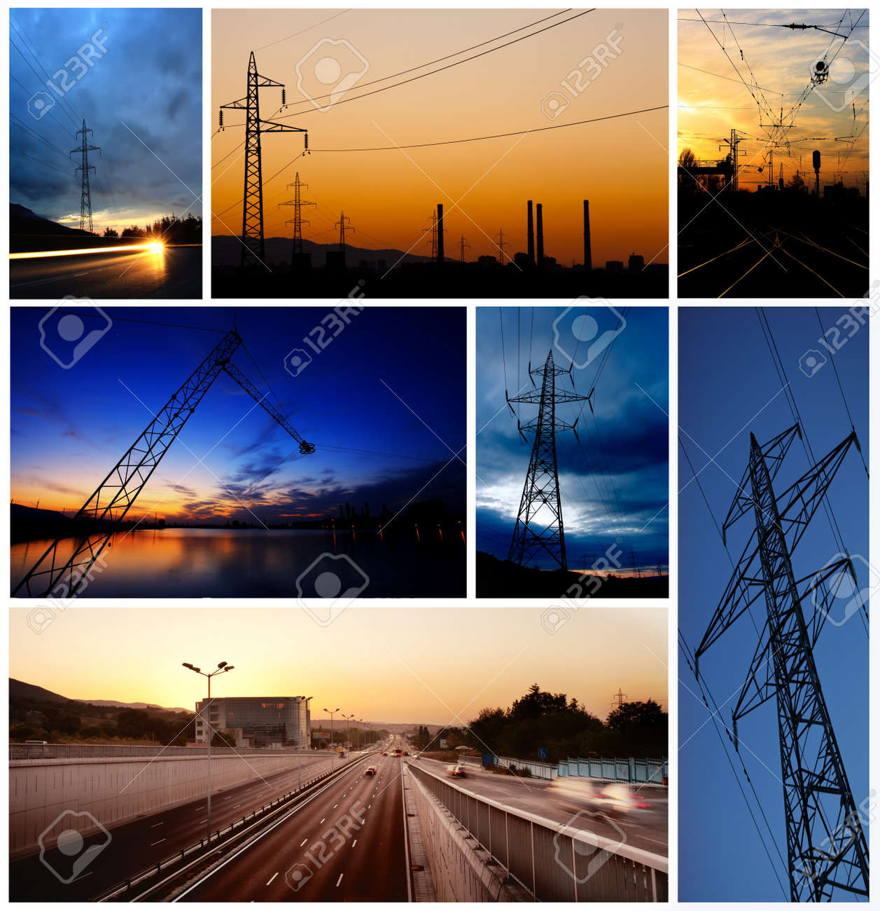 industry low light picture combine in collage Stock Photo - 15803473