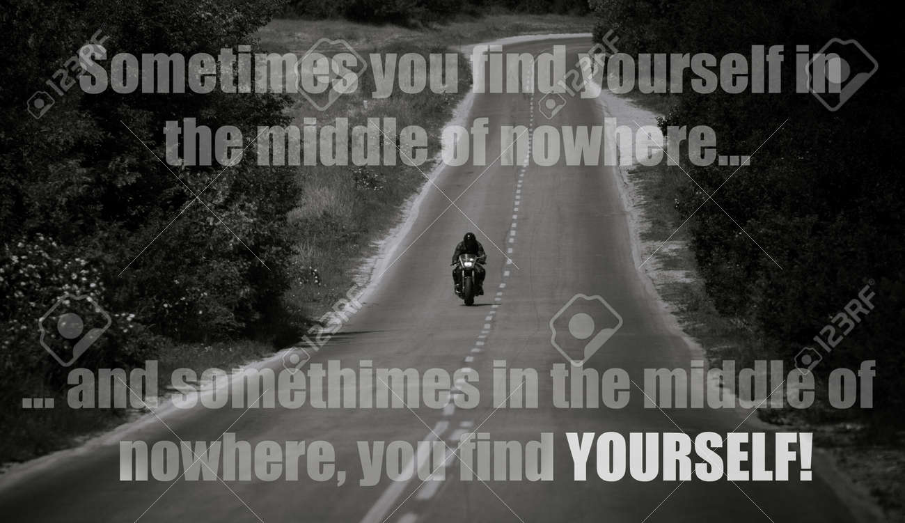 Inspirational Unknown Quote With Motorbike In Black And White Stock