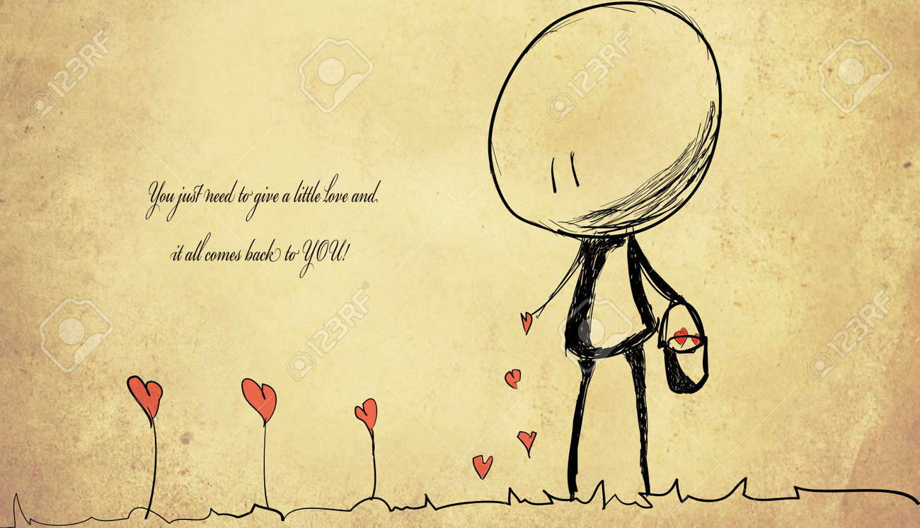 unknown love quote background with drowing hearts and small cute..