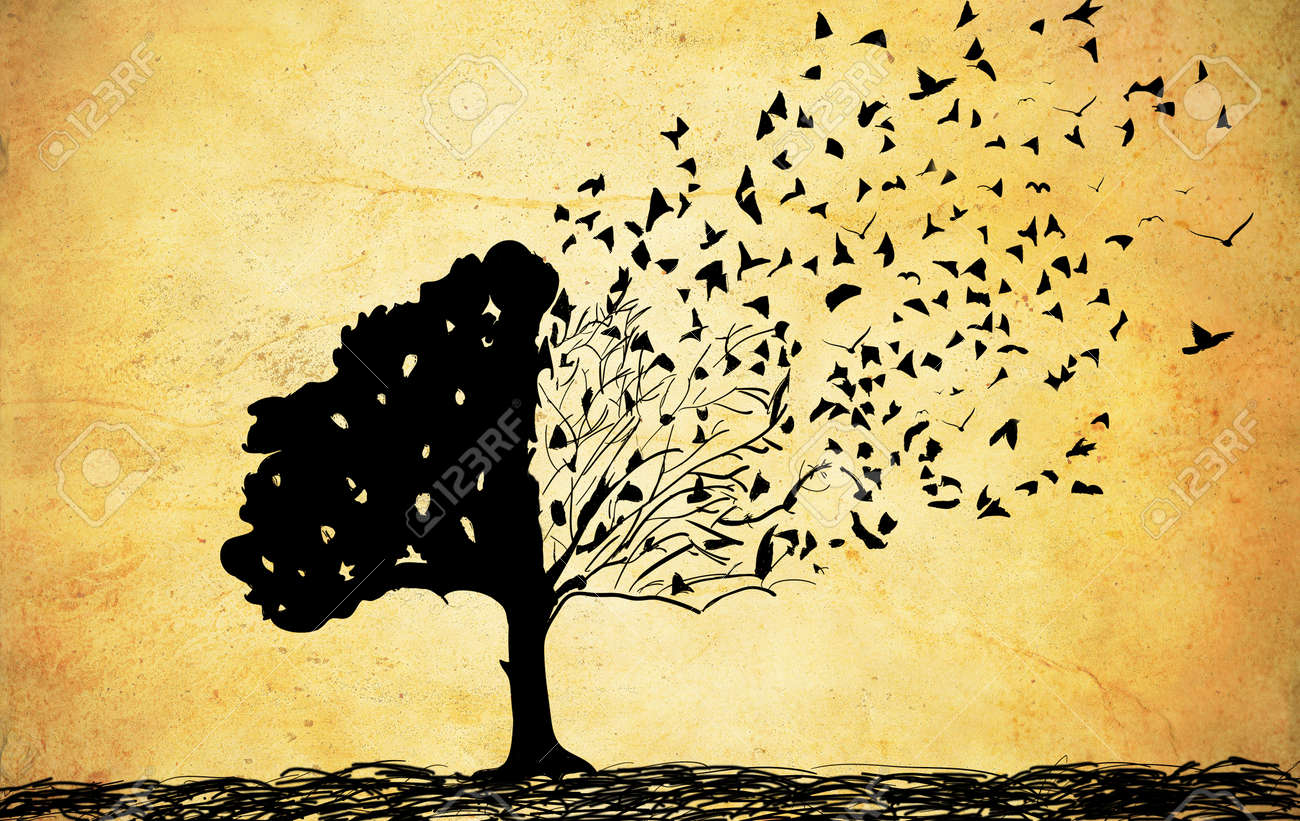 Old papers with tree drawing abstract tree background stock photo 37327040