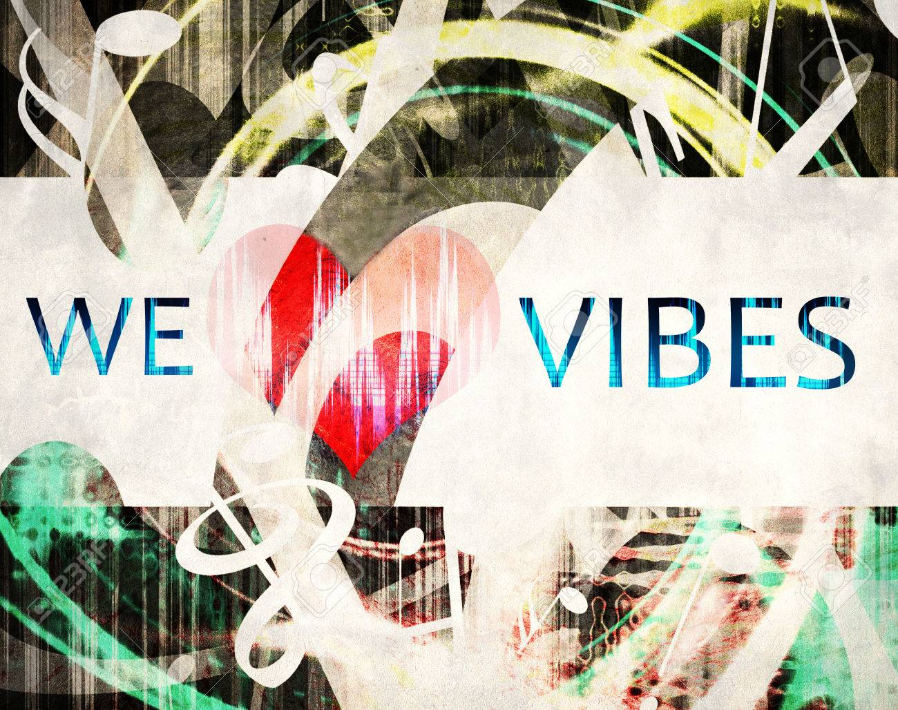 grunge we love vibes illustration, heart and manny shaped music