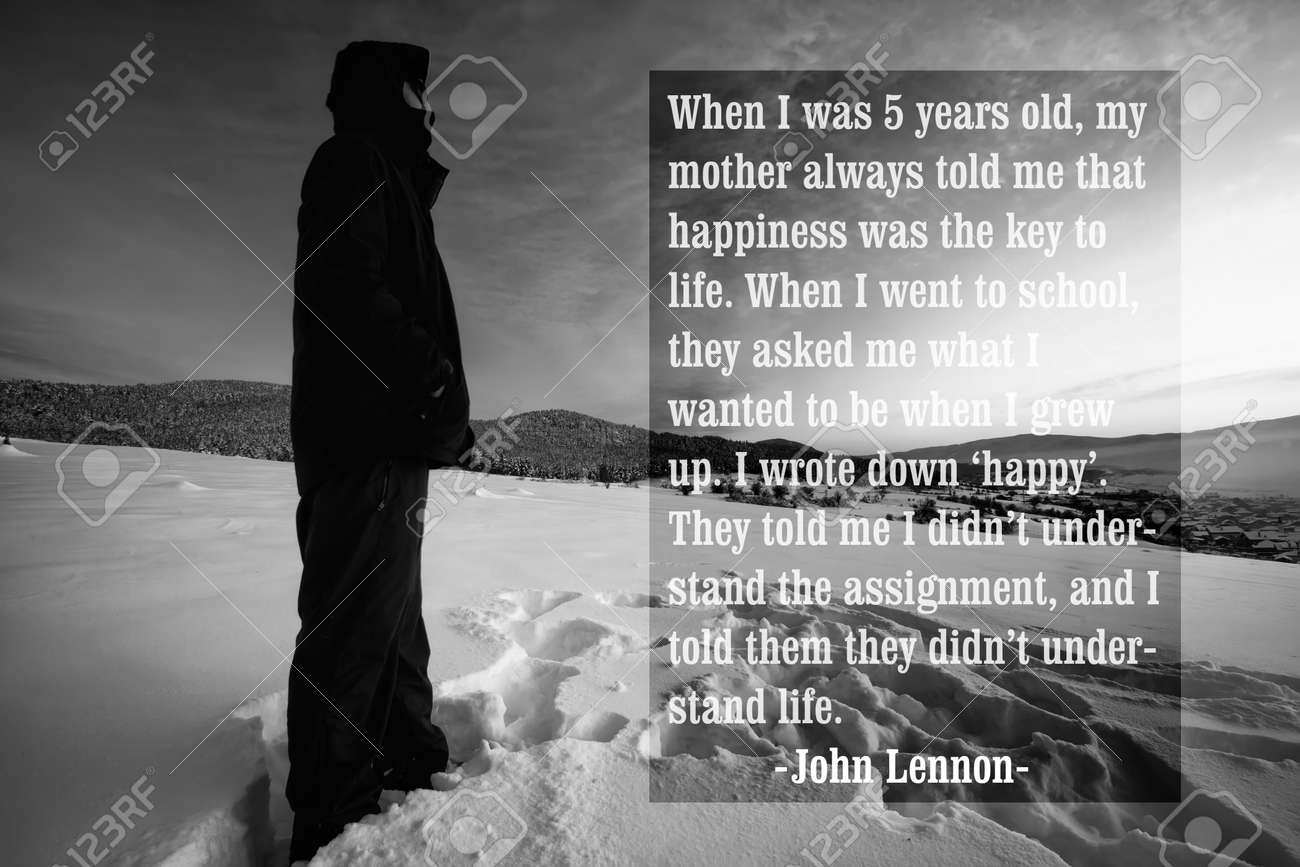 Quote Of The Famous American Singer John Lennon Over The Black