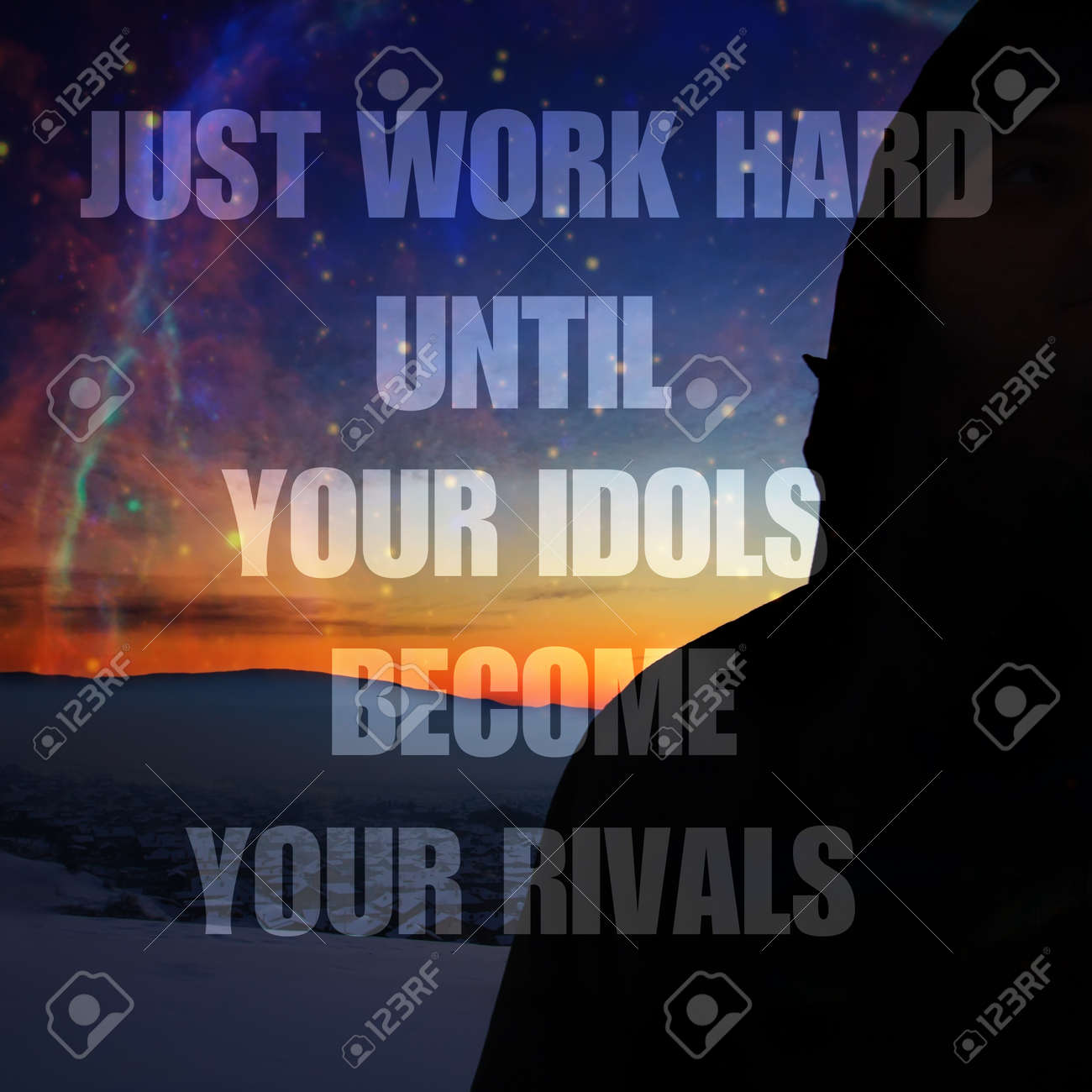 Motivational Unknown Quote Background Work Hard Until Your Idols Stock Photo Picture And Royalty Free Image Image 57914656