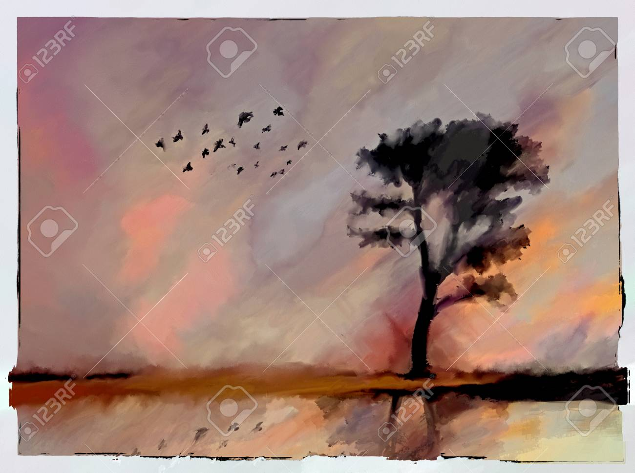 Abstract watercolor oil painting alone tree silhouette and birds on lake beach warm pastel