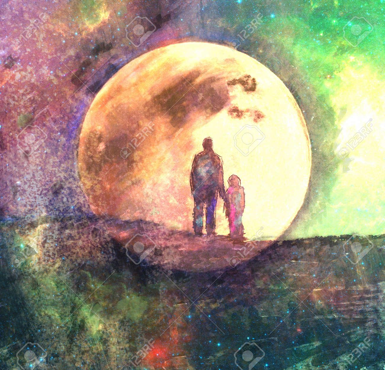 Lune Et Deux Silhouette De L'homme Et De L'enfant, Fée Peinture Abstraite,  Techniques Mixtes Banque D'Images Et Photos Libres De Droits. Image  67518096.