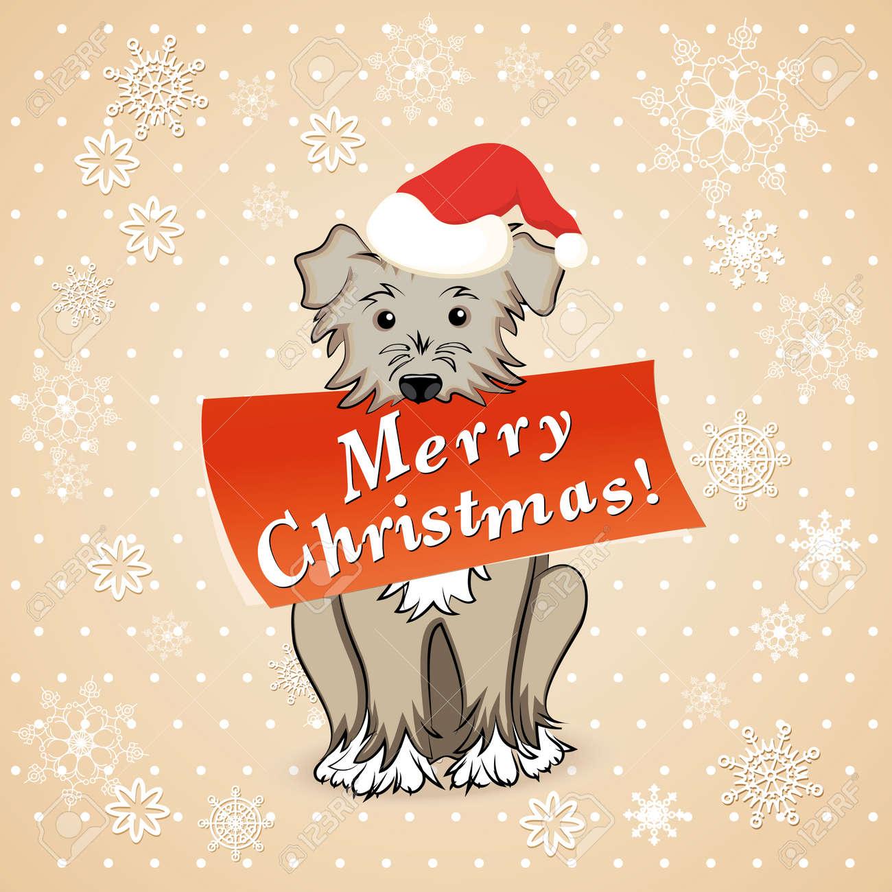 Dog Christmas Card Photo.Vector Illustration Christmas Card With Cartoon Dog