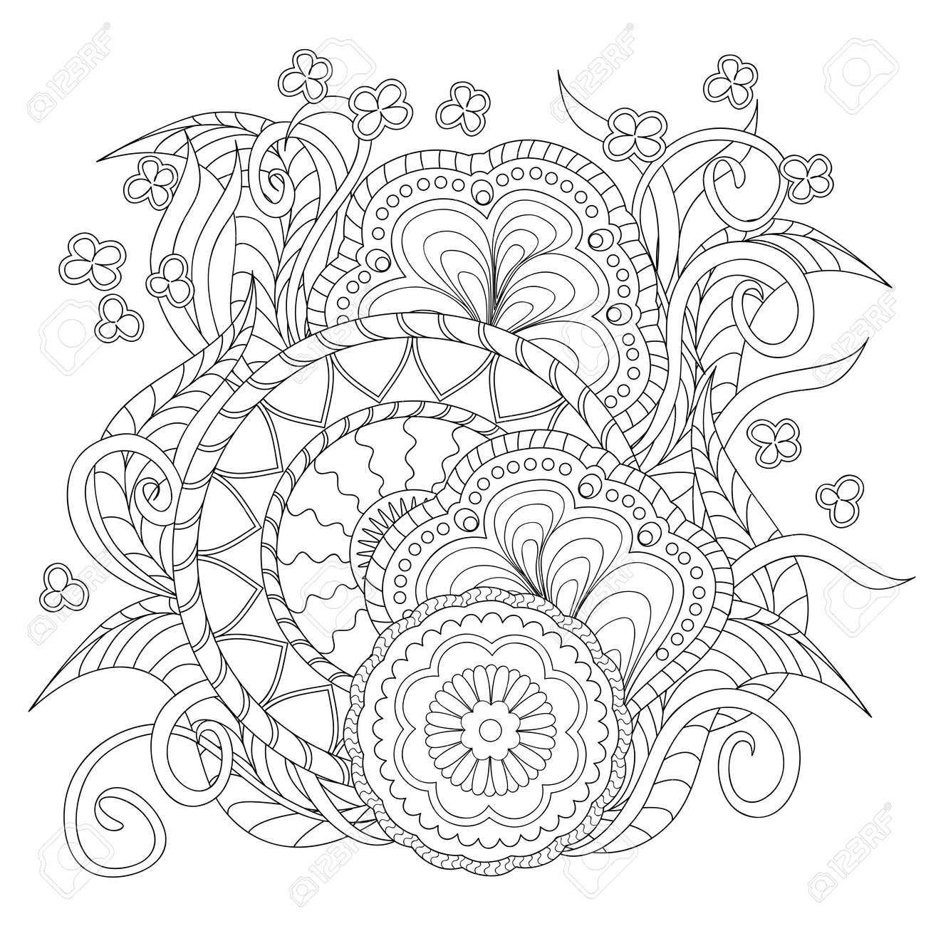 Image For Adults Coloring Page Vector Illustration Hand Drawn Decorated With Flowers And Mandalas Zentangle Style Henna Paisley Mehndi