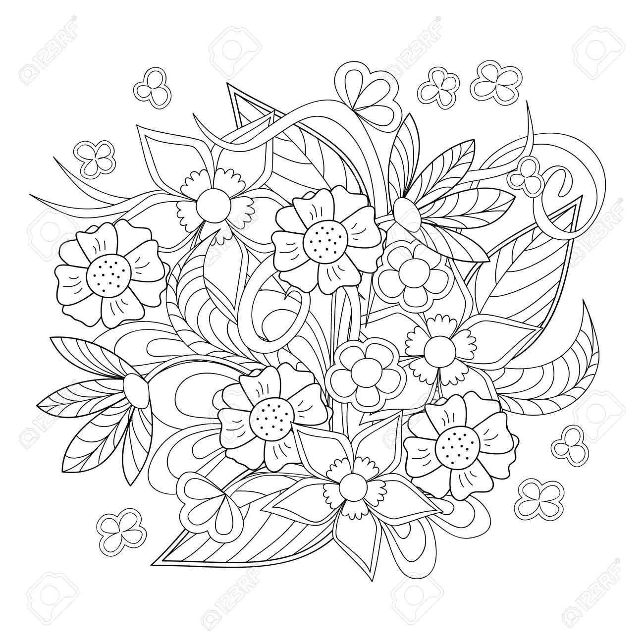 Hand Drawn Image With Flowers For Adult And Children Coloring Book Decoration Clock