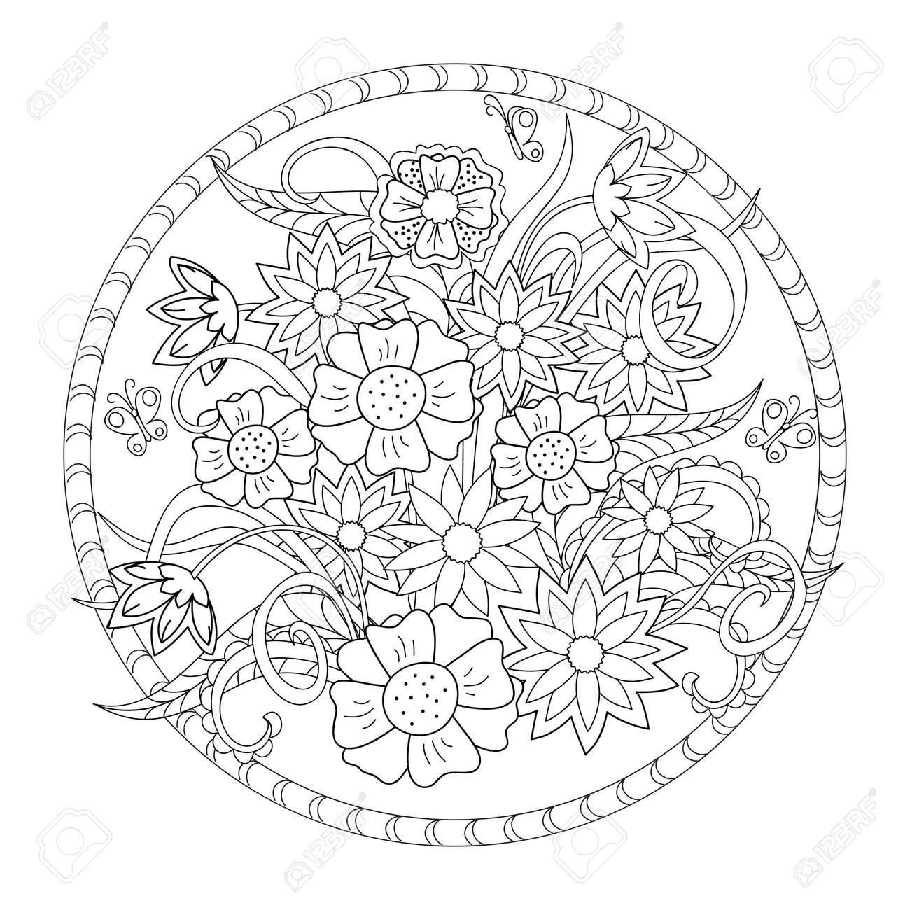 大人用と子供用の塗り絵花の手描き画像装飾時計の文字盤料理食器