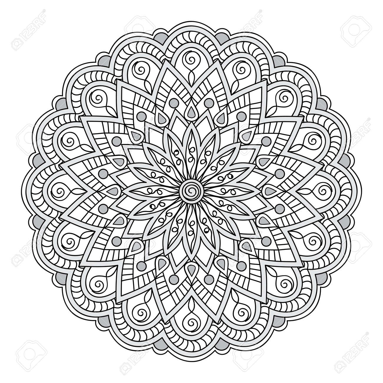 Hand Drawn Mandala Decore Photo Pour Adultes Et Enfants A Colorier Livres Pages Tatouage Pour Les Plats Decorer Tasses Porcelaine