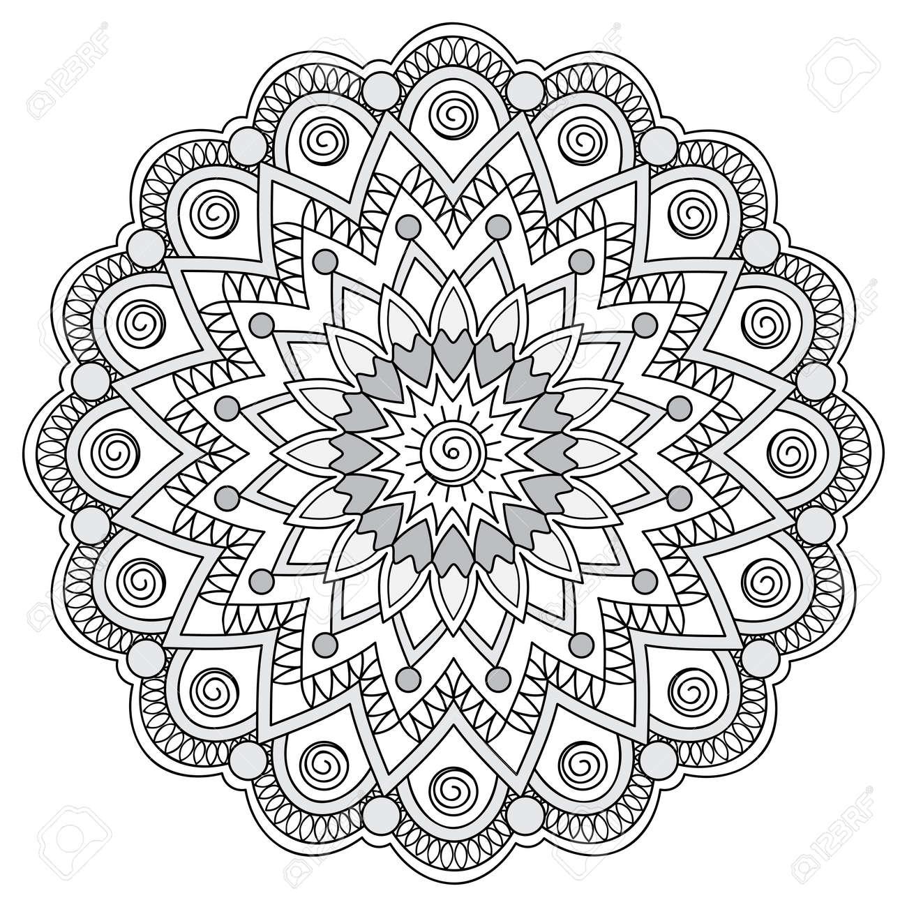 Hand Dekoriert Mandala Gezeichnet. Bild Für Erwachsene Und Kinder ...