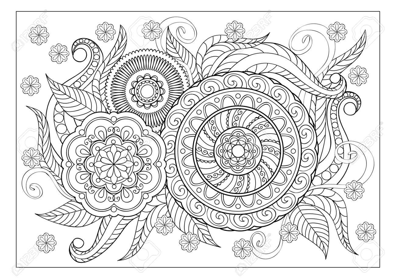 Hermosa Libro De Colorear De Flores Ilustración - Enmarcado Para ...