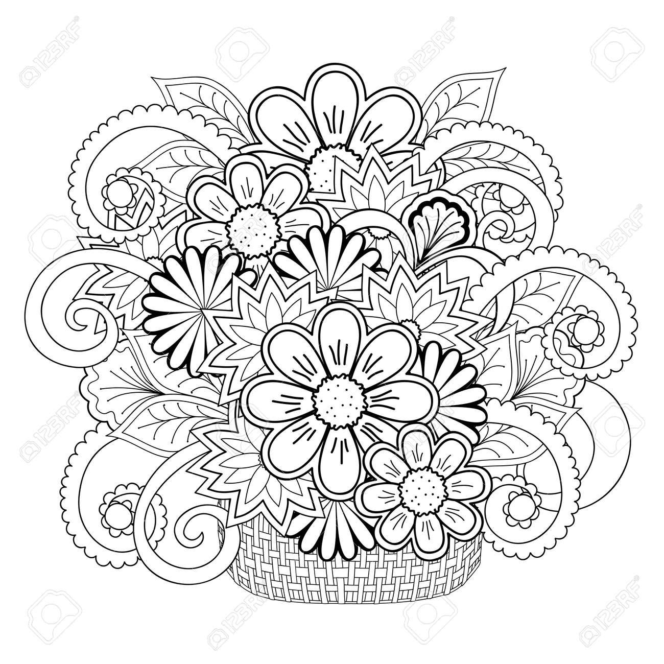 Impresión De La Mano En Blanco Y Negro Dibujado Con Flores De ...