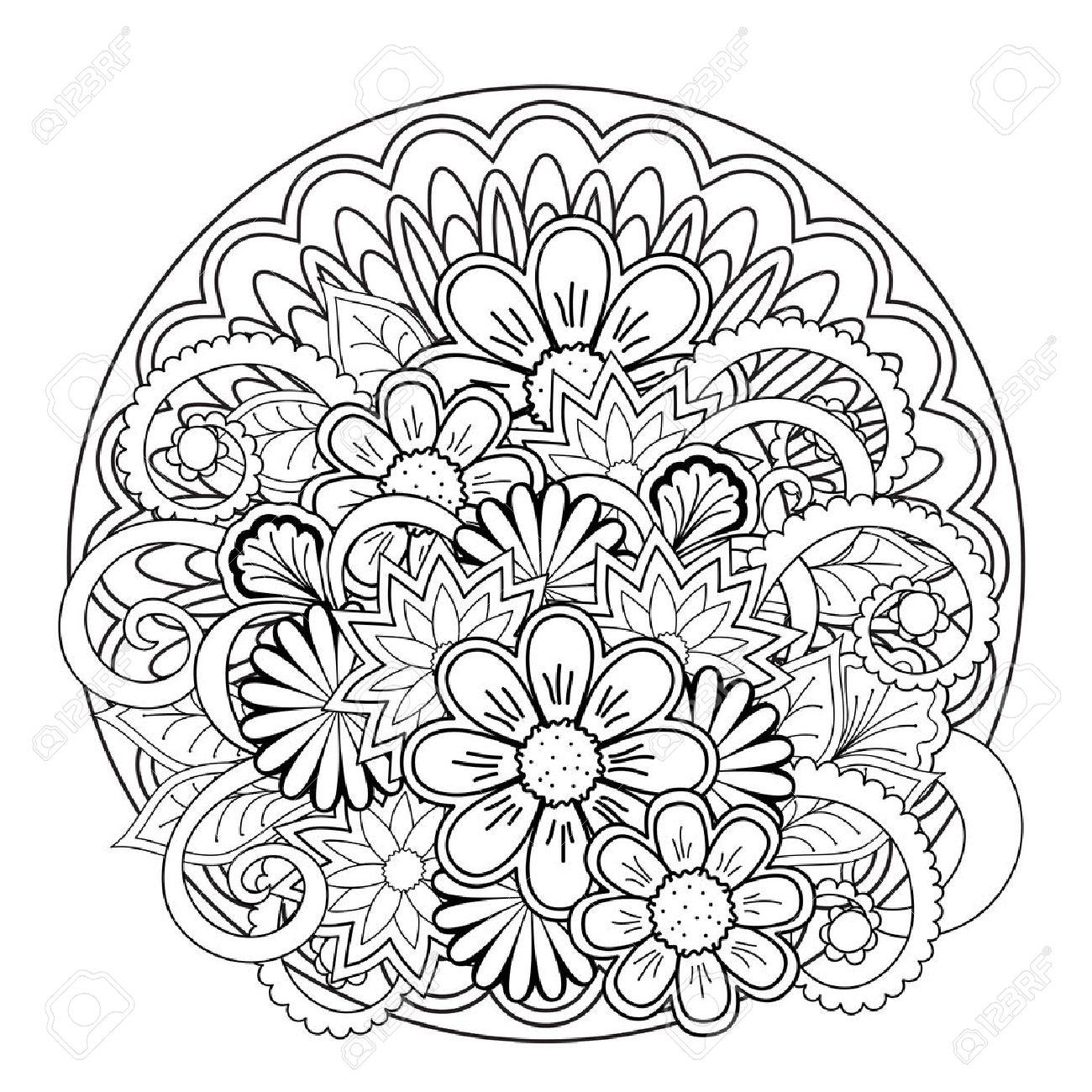 Mandalas Monocromas Y Flores Con Elementos Dibujados A Mano. Imagen ...