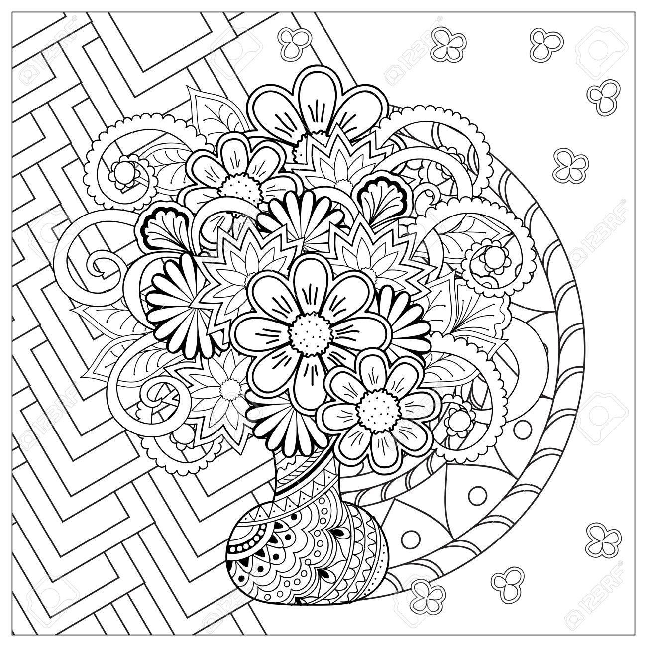 手で白黒カードは白い背景の上で自由奔放に生きるスタイルの花と曼荼羅