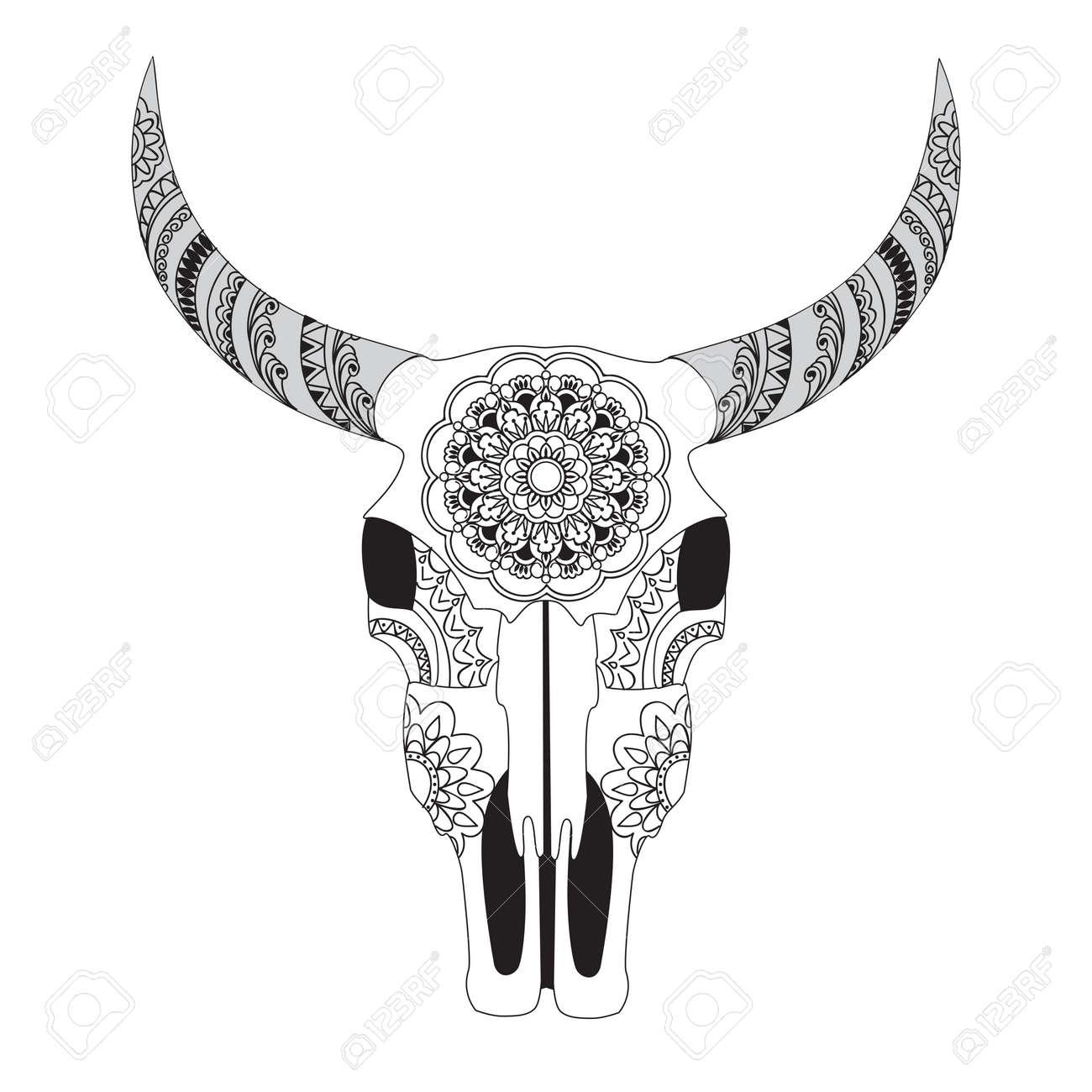 Coloriage De Mandala De Vache.Hand Drawn Crane De Vache Decoree Avec Mandala Isole Sur Blanc Le