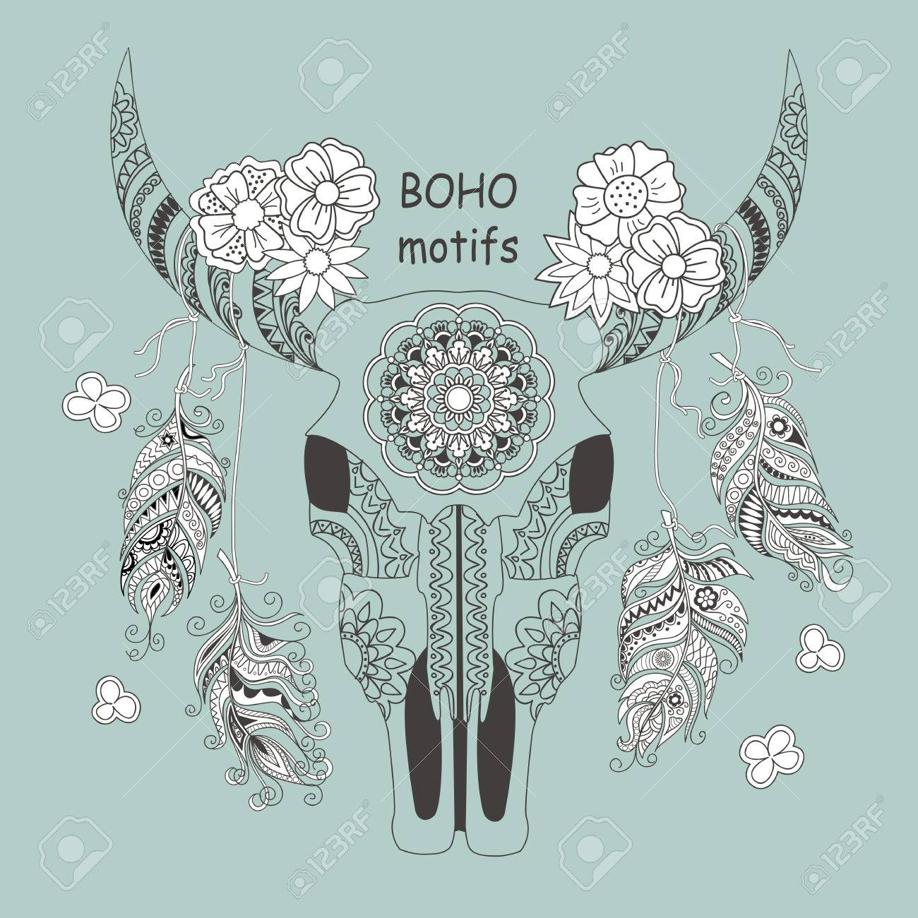 4cc2ccf88 Hand drawn decorated cow skull with mandala, flowers and feathers isolated  on grey background.