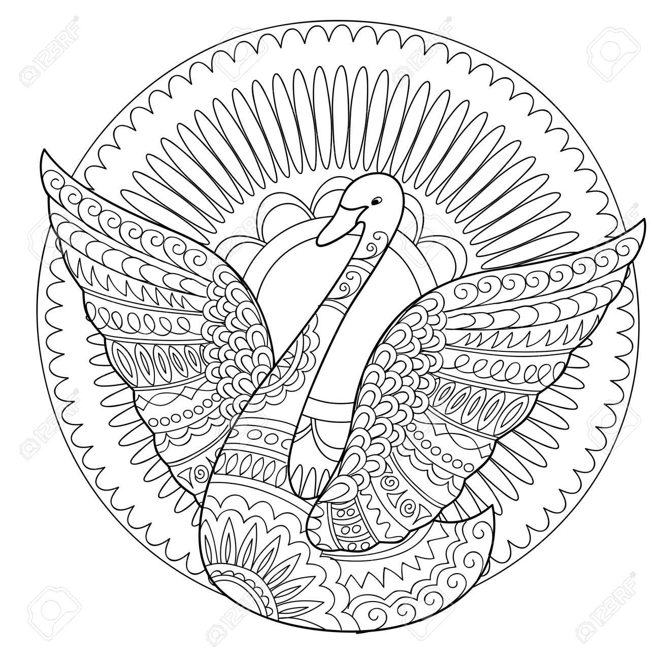 Dibujado A Mano Cisne Decorado Con Mandala Aislado En Blanco. Estilo ...