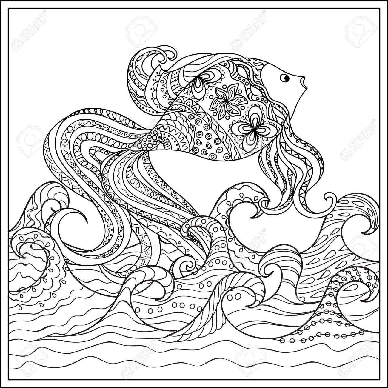 Dibujado A Mano Decorado Peces En El Océano Con Olas. Imagen Para ...