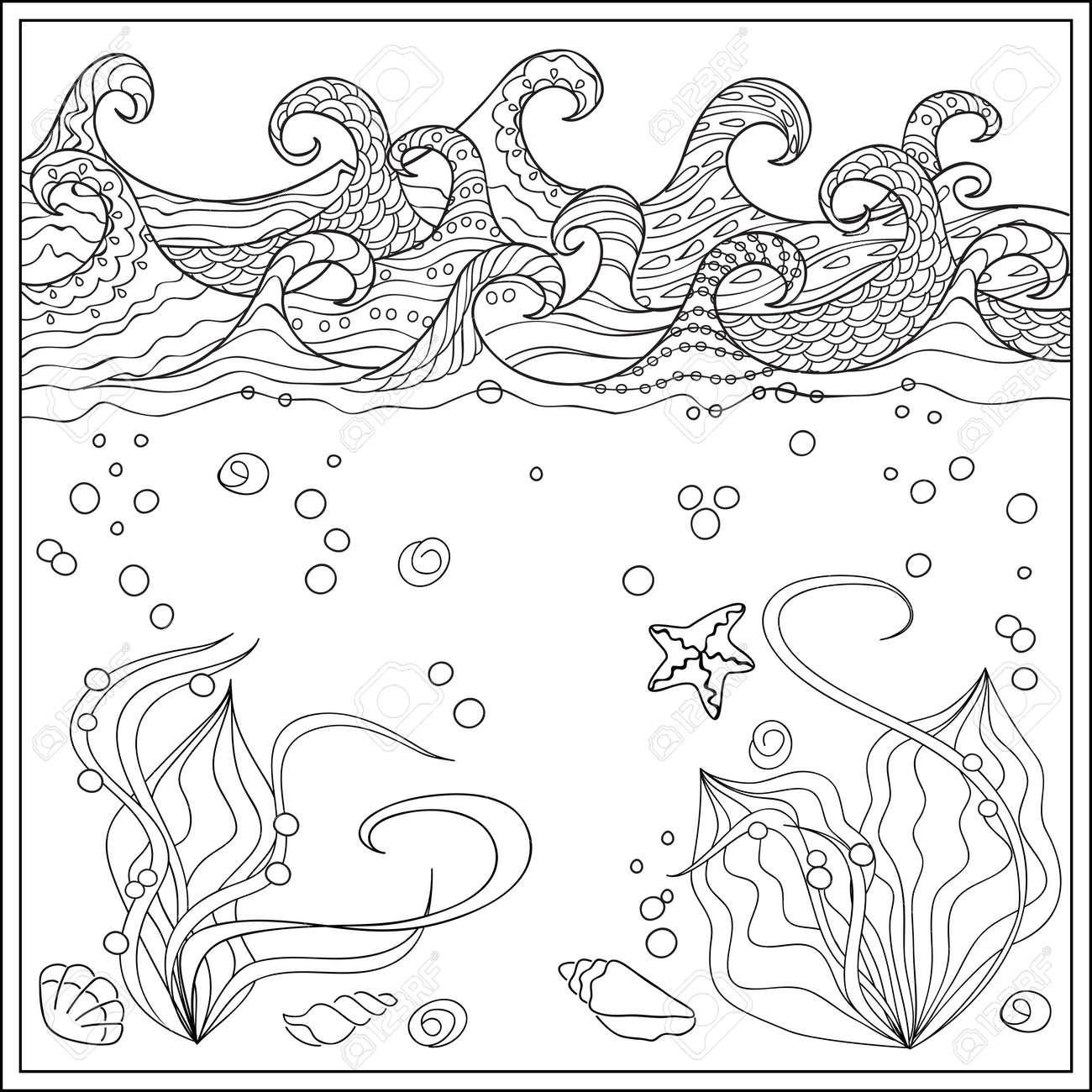 Dibujado A Mano Conchas Marinas En El Océano Con Olas Decoradas Imagen Para Adultos Y Niños Libros Para Colorear Grabado Grabado Bordado