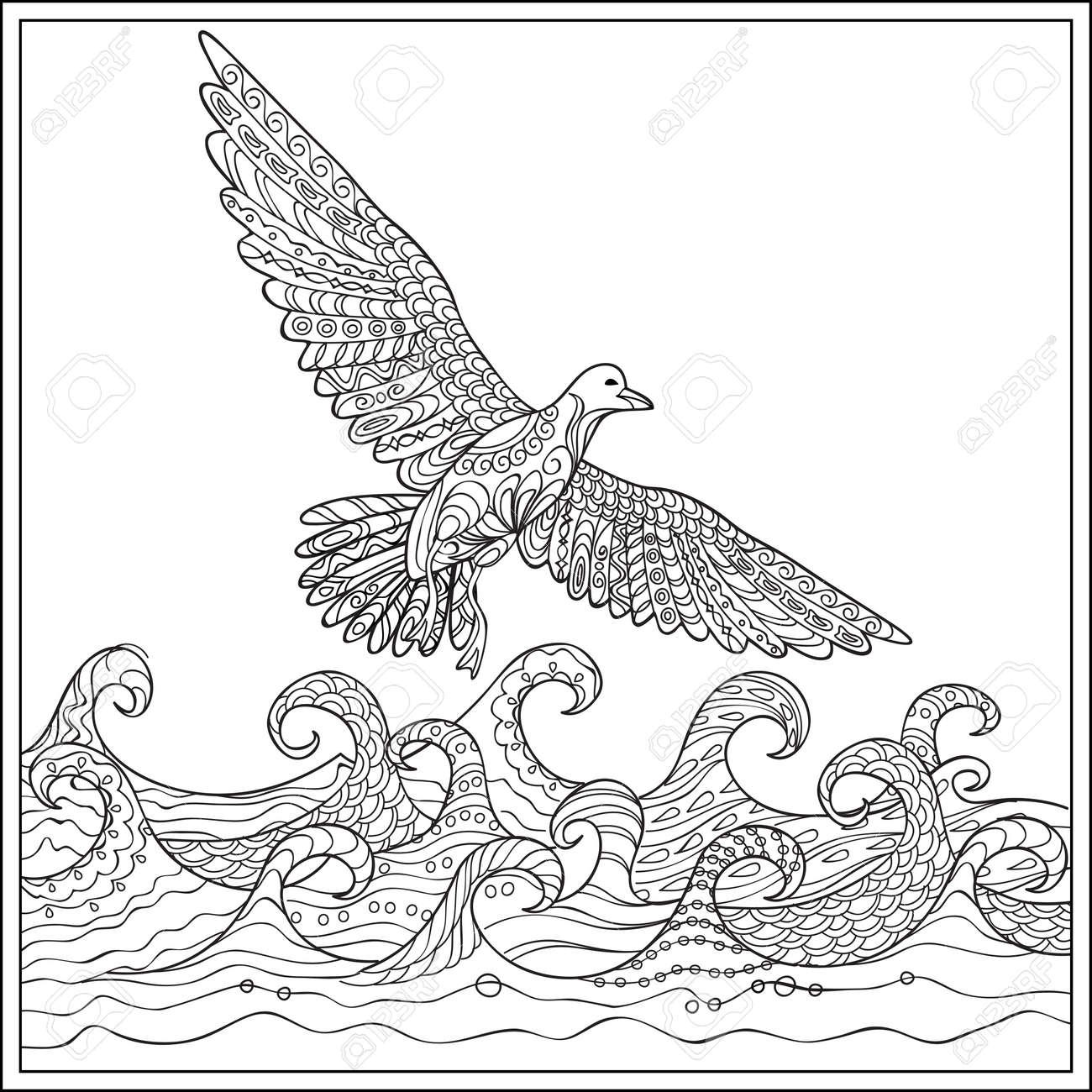 Dibujado A Mano Decoradas Gaviota Sobre El Océano Con Olas. Imagen ...
