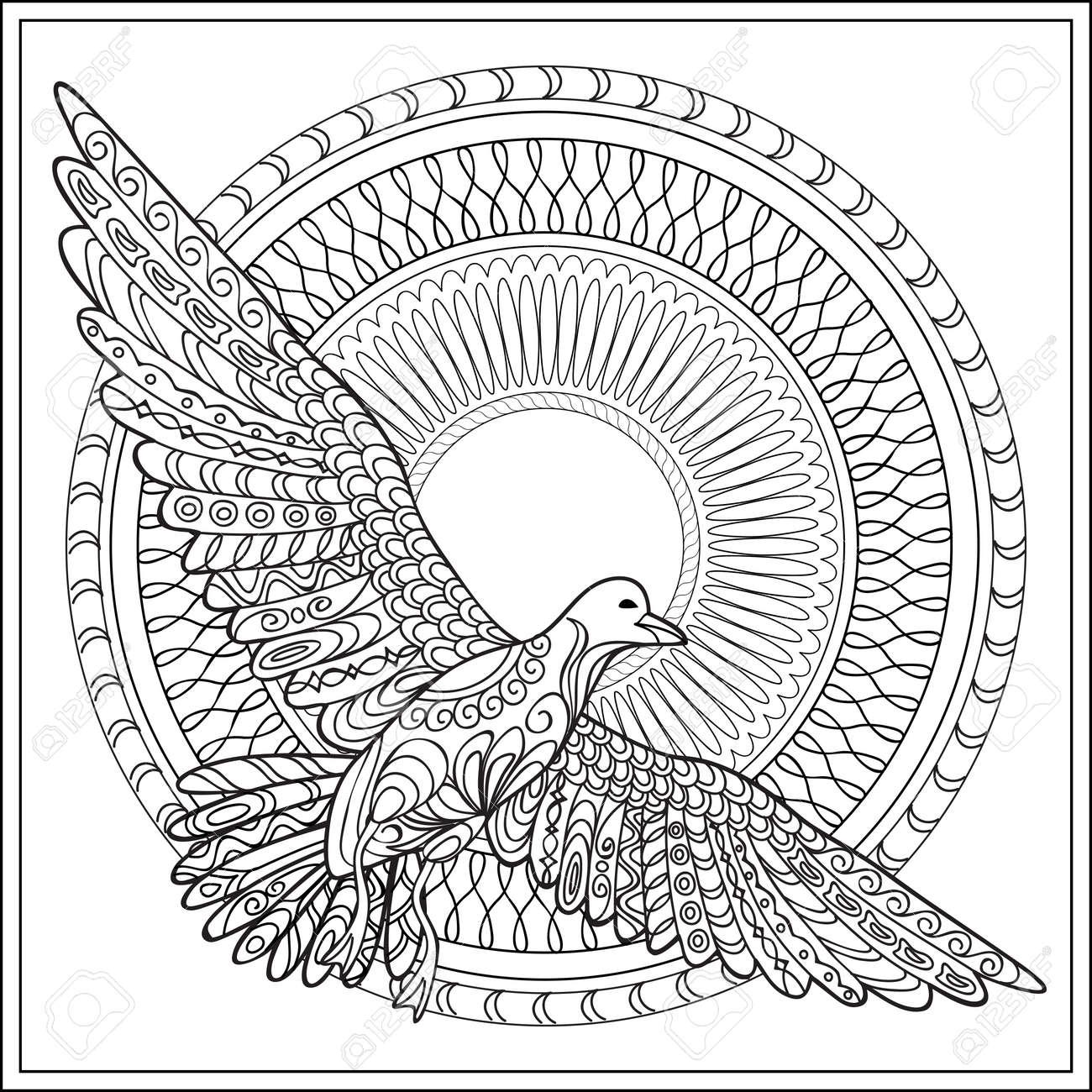 Hand Drawn Decore Isole Oiseau De Mer Avec Mandala Sur Le Fond