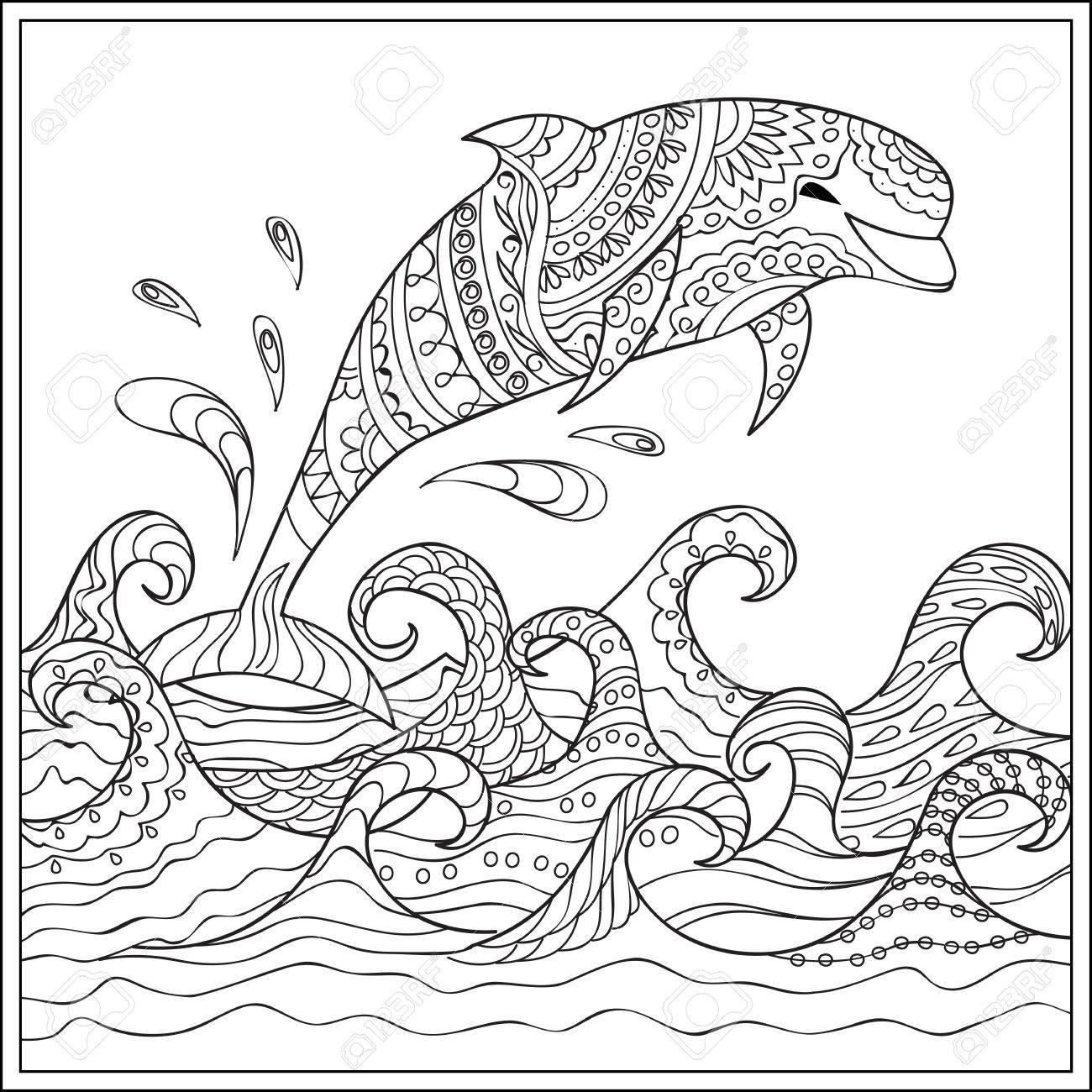 Dibujado A Mano Decorada Con Delfines En El Océano Con Olas. Imagen ...