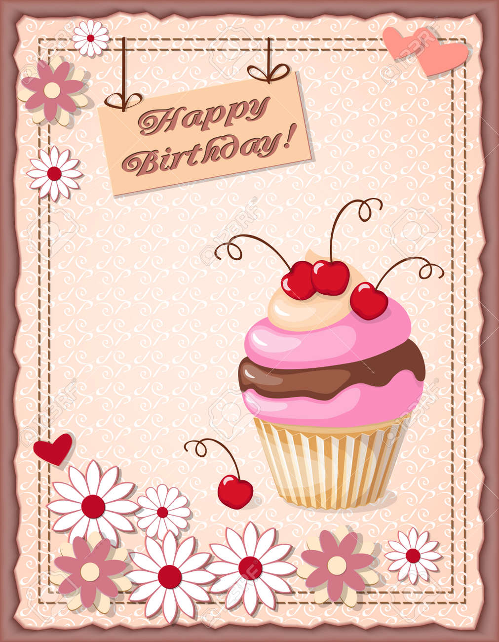 Festive Colorful Scrapbooking Card With Text Happy Birthday Cake Cherry And Hearts On The