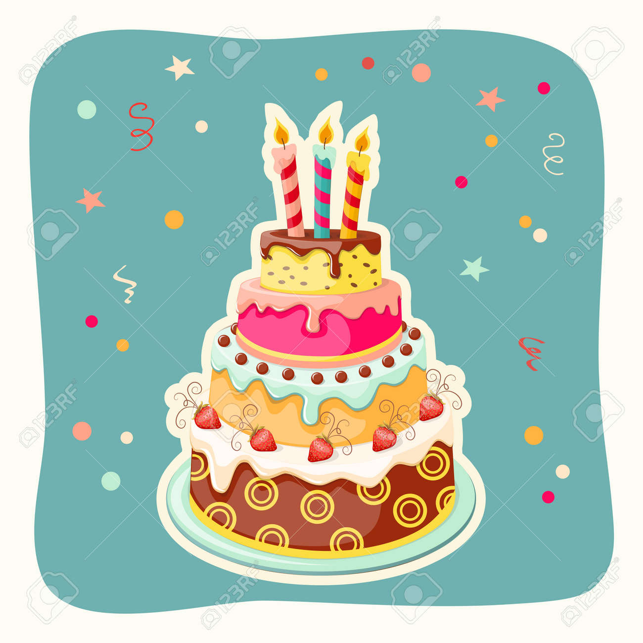 Festive Colorful Card With Birthday Cake Tier Candle And Royalty