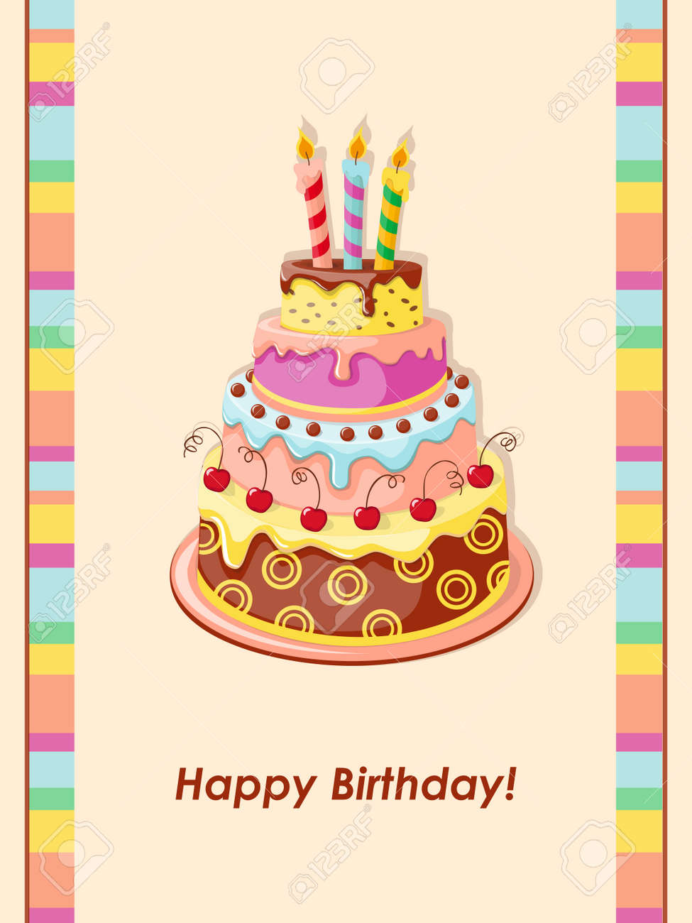 Festive Colorful Birthday Card With Cake Tier Candles And Royalty