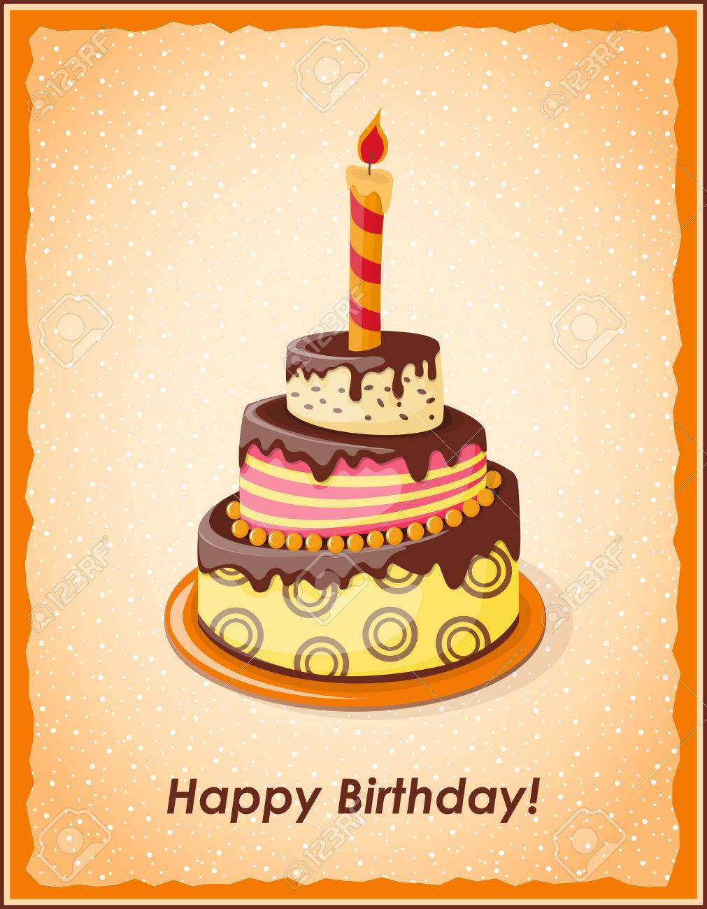 Festive Colorful Card With Text Happy Birthday Cake Tier Candle