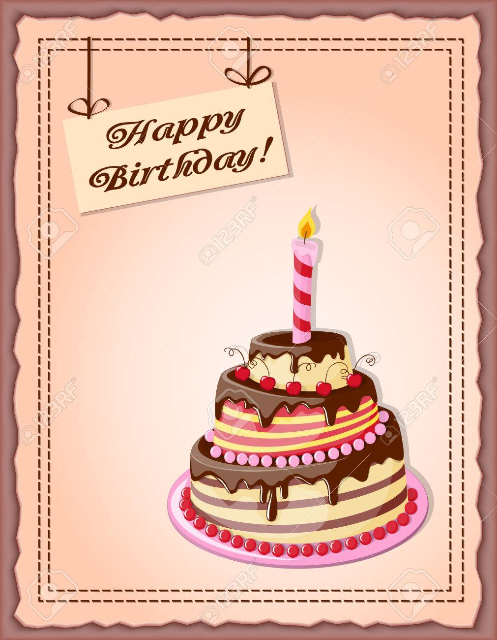 Festive Colorful Card With Text Happy Birthday Cake Tier