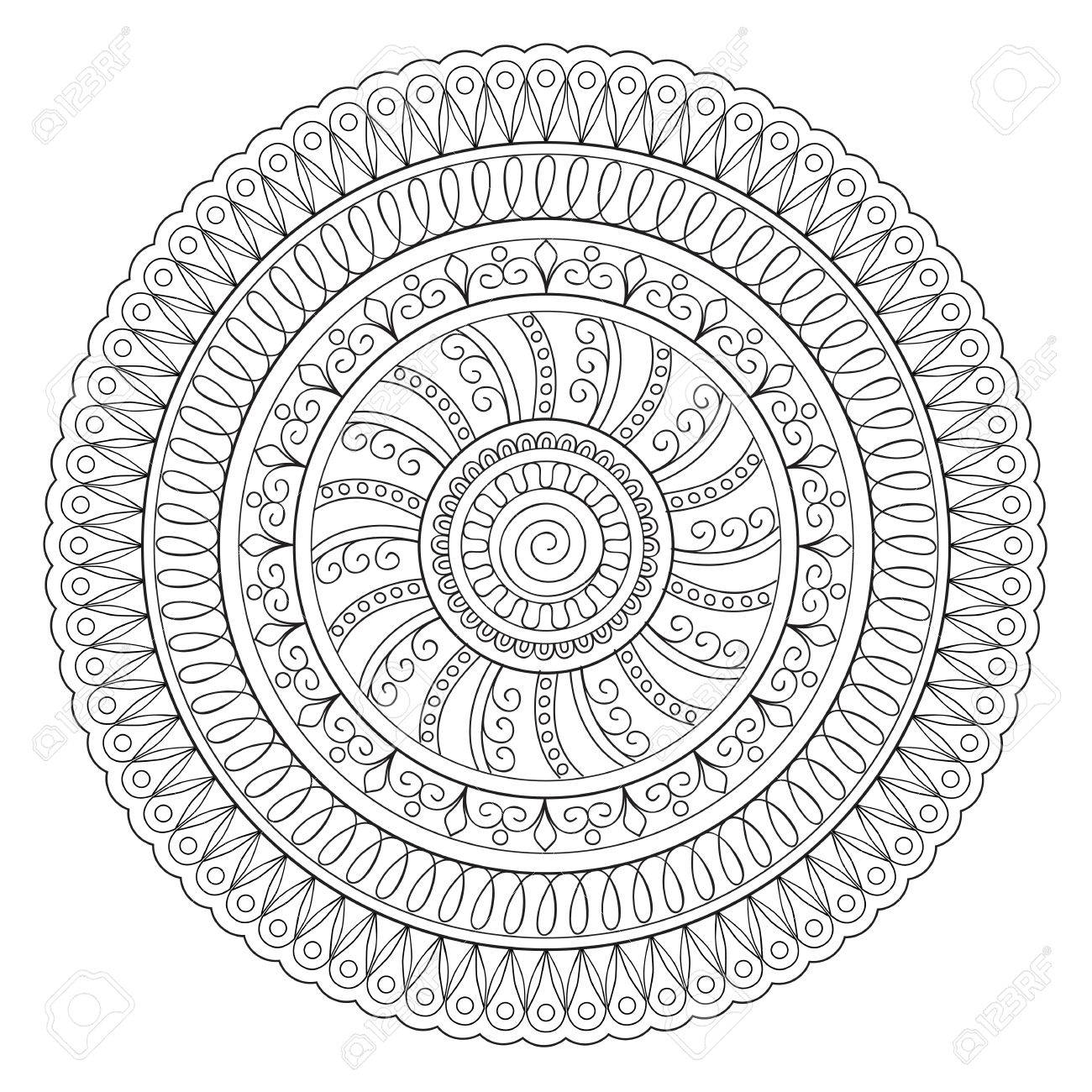 Mandala Con Los Elementos Dibujados A Mano. Islam, El árabe, El ...