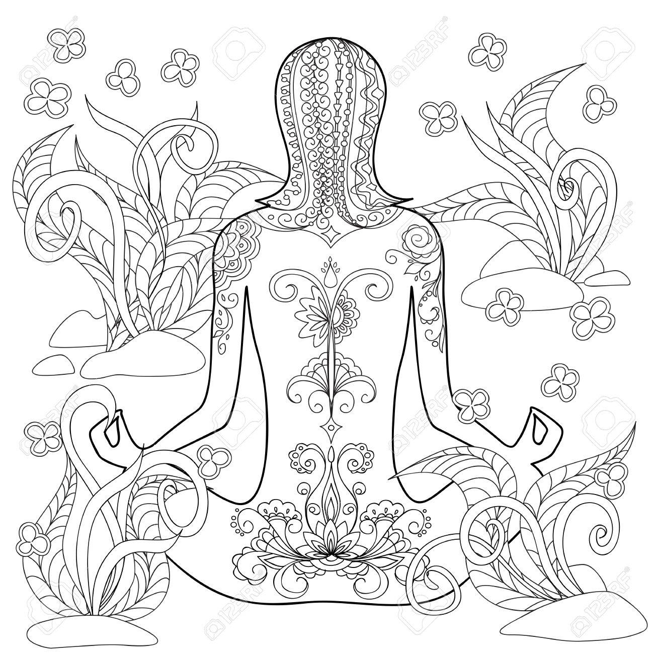 Hand Drawn Decorated Tattoo Girl In The Tangled Flowers Image Royalty Free Cliparts Vectors And Stock Illustration Image 66353121