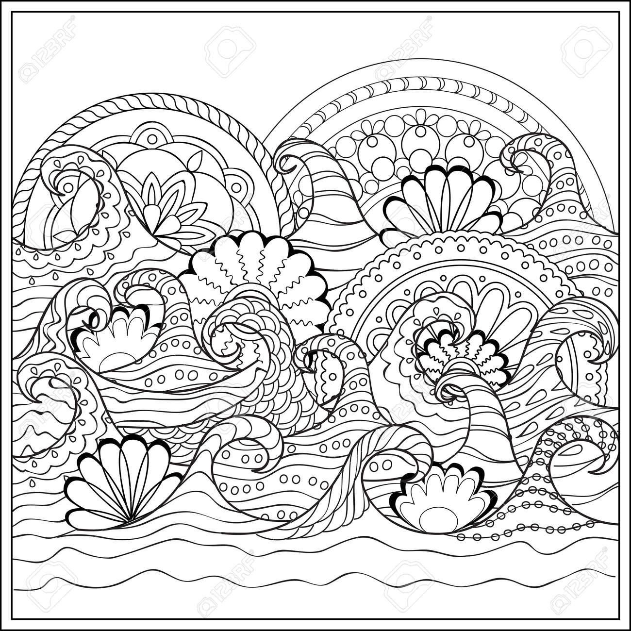 Dibujado A Mano Mandalas En El Océano Con Olas Decoradas. Imagen ...