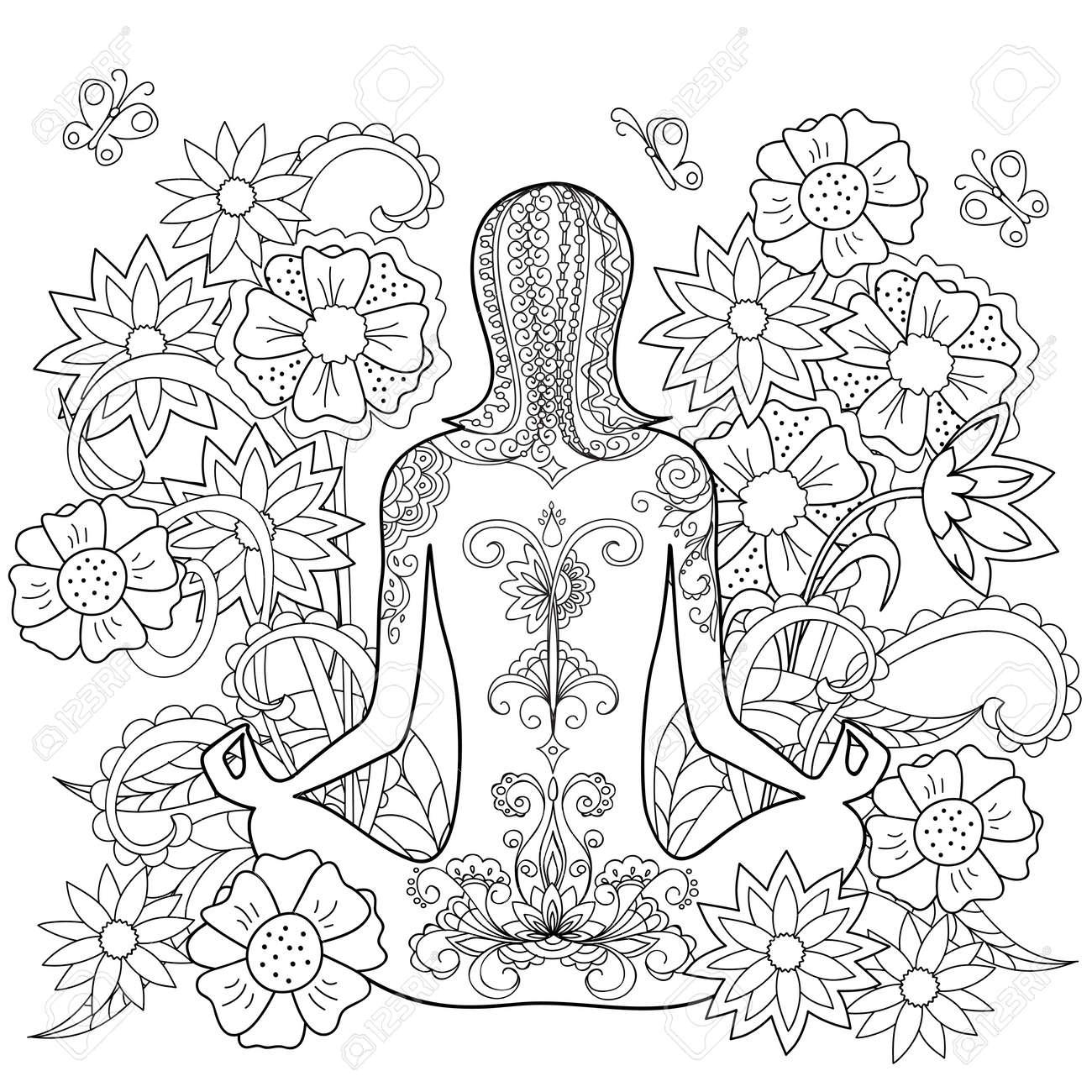 Hand Gezeichnetes Verziertes Tätowierungsmädchen In Den Blumen. Bild ...