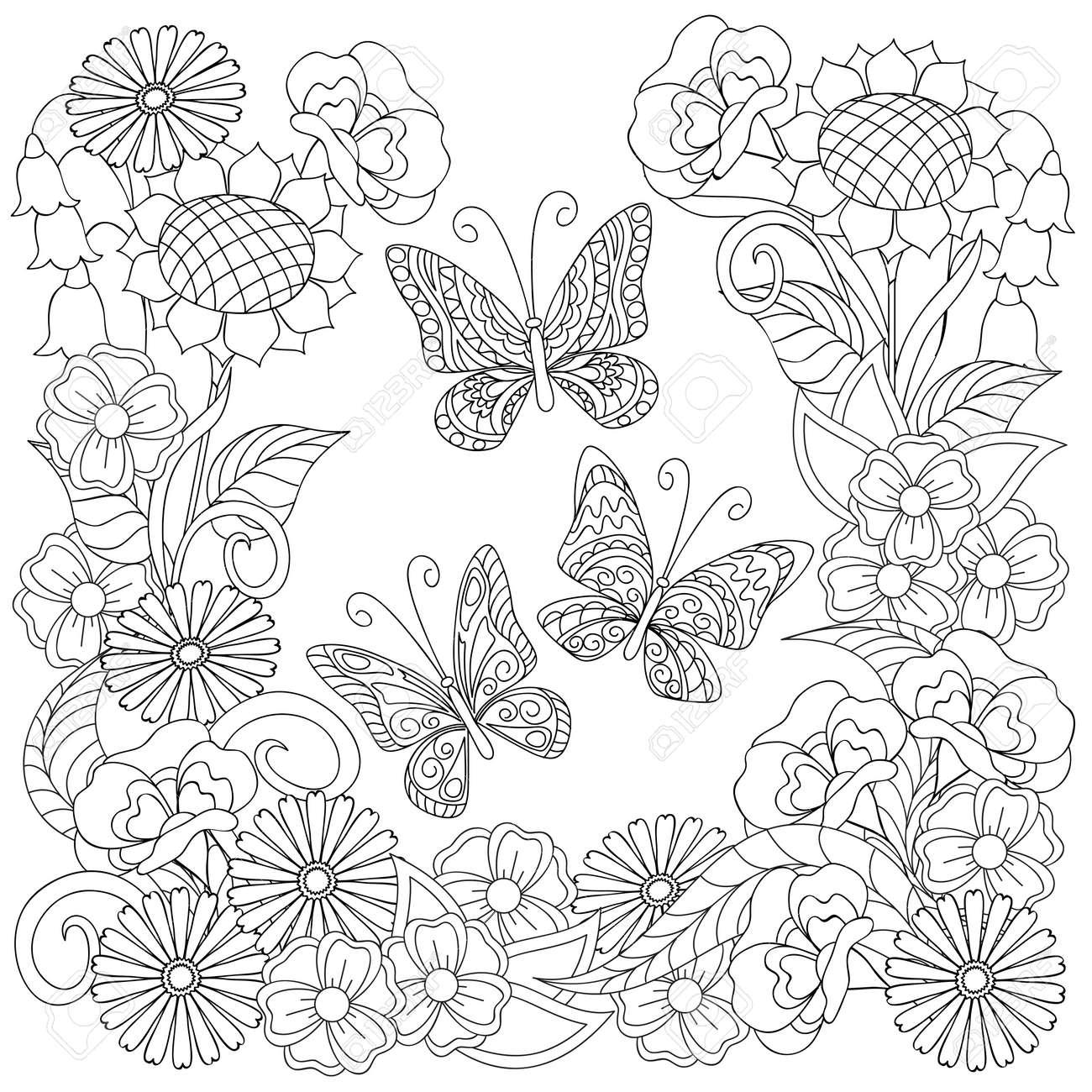 Dibujado A Mano Decorado Tres Mariposas Y Flores En Estilo étnico Aislado En Blanco Imagen Para Adultos Y Niños Antiestrés Libro De Colorear Decorar