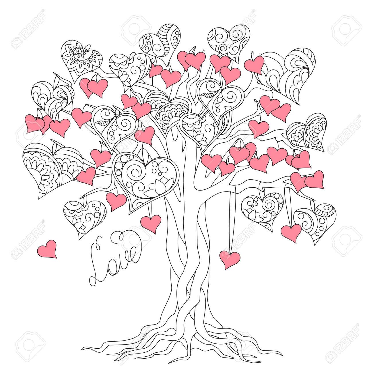 Hand Gezeichnet Geschmückten Baum Der Liebe In Boho Ethno-Stil. Bild ...