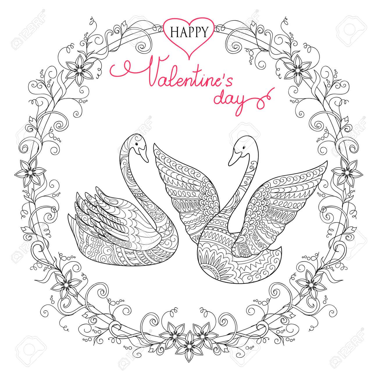Tarjeta De Felicitación De San Valentín Con Dibujado A Mano Dibujado ...